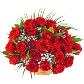 35 red roses in a basket