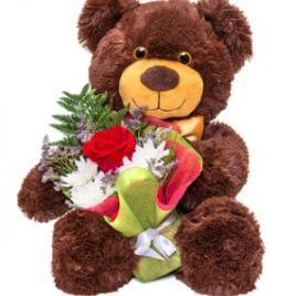 Teddy + bouquet