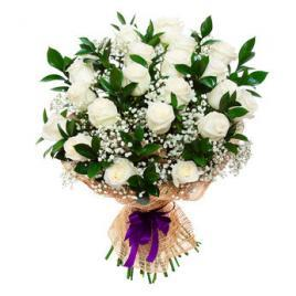 25 White Roses Bouquet