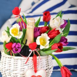Champagne and flower basket