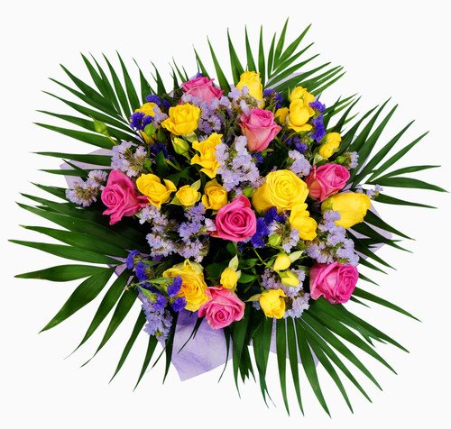 Bouquet of pink and yellow roses isolated on white